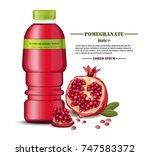 pomegranate juice bottle... | Shutterstock .eps vector #747583372