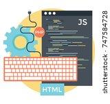 html vector  programming and... | Shutterstock .eps vector #747584728