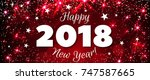 happy new year 2018 greeting... | Shutterstock . vector #747587665