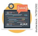 html  javas  source code ... | Shutterstock .eps vector #747591502