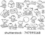 funny doodle kids with books in ... | Shutterstock .eps vector #747595168
