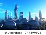 a fantastic city from the... | Shutterstock . vector #747599926