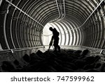 silhouettes of workers in the... | Shutterstock . vector #747599962
