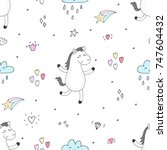 cute seamless pattern with... | Shutterstock .eps vector #747604432
