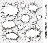a set of comic bubbles and... | Shutterstock .eps vector #747618328