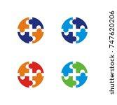 puzzle icon logo vector   Shutterstock .eps vector #747620206
