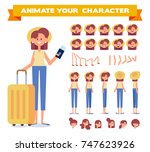 traveler girl with tickets and... | Shutterstock .eps vector #747623926