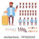 bearded guy with tickets and... | Shutterstock .eps vector #747624142