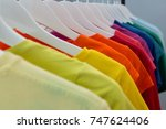 close up of various t shirts... | Shutterstock . vector #747624406