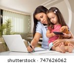 mom work and child.   Shutterstock . vector #747626062