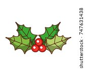 christmas leaves holly berry... | Shutterstock .eps vector #747631438