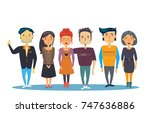 team of a business company.... | Shutterstock .eps vector #747636886