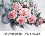 Watercolor  Flower Composition...