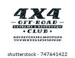 italic serif font and off road... | Shutterstock .eps vector #747641422