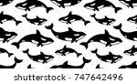 whale dolphin shark fin doodle... | Shutterstock .eps vector #747642496