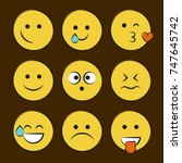 set of smile icons. emoji.... | Shutterstock .eps vector #747645742