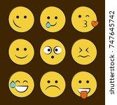 set of smile icons. emoji.... | Shutterstock .eps vector #747645742