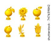 set of gold award. trophy icons ... | Shutterstock .eps vector #747659842