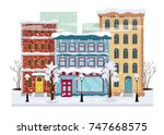 panorama of a winter city with...   Shutterstock .eps vector #747668575