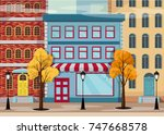 autumn city with yellow trees... | Shutterstock .eps vector #747668578