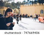 female tourist buying ticket to ...   Shutterstock . vector #747669406