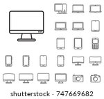 monitor icon in set on the... | Shutterstock .eps vector #747669682