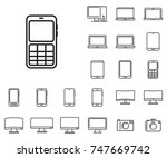 phone icon with keyboard in set ... | Shutterstock .eps vector #747669742