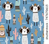 seamless pattern with llama ... | Shutterstock .eps vector #747670615