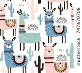 Stock vector seamless pattern with llama cactus and hand drawn elements creative childish texture great for 747670708