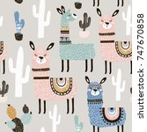 seamless pattern with llama ... | Shutterstock .eps vector #747670858
