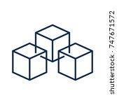 blockchain vector line icon on...   Shutterstock .eps vector #747671572