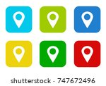 set of rounded square colorful... | Shutterstock . vector #747672496