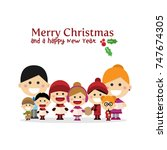 cute family singing carols at... | Shutterstock .eps vector #747674305