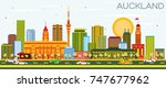 auckland skyline with color... | Shutterstock .eps vector #747677962