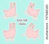 cute pink fluffy llama  alpaca .... | Shutterstock .eps vector #747680182