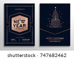 new year party rose gold... | Shutterstock .eps vector #747682462