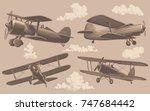 aeronautics. design set. hand... | Shutterstock .eps vector #747684442