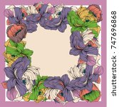 colorful silk scarf with... | Shutterstock .eps vector #747696868
