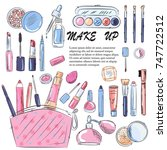 sketch of cosmetics products ... | Shutterstock .eps vector #747722512