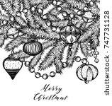 merry christmas. vector... | Shutterstock .eps vector #747731128
