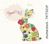 easter floral bunny | Shutterstock .eps vector #74773219
