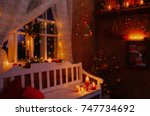 vintage christmas decoration in ... | Shutterstock . vector #747734692