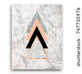 Stock photo marble background with rose gold triangles geometric print for your card template business 747735976
