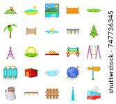 scenery icons set. cartoon set... | Shutterstock . vector #747736345