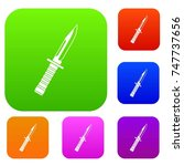 military knife set icon in... | Shutterstock . vector #747737656