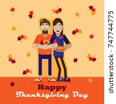 thanksgiving day.the character.... | Shutterstock .eps vector #747744775
