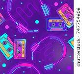 retro pop eighties  radio... | Shutterstock .eps vector #747754606