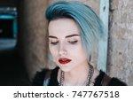 portrait of beautiful freaky... | Shutterstock . vector #747767518