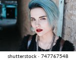 portrait of beautiful freaky... | Shutterstock . vector #747767548