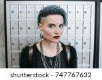 portrait of beautiful freaky... | Shutterstock . vector #747767632